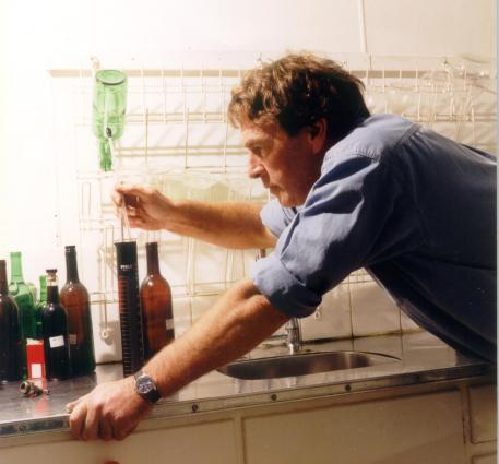 Colin Campbell in lab; Winemaker