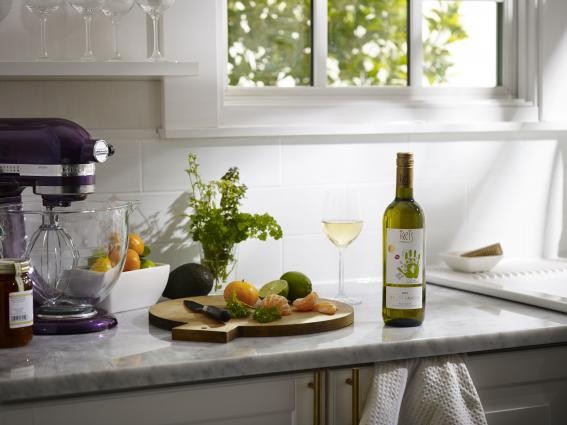 KRIS Pinot Grigio on a kitchen counter top
