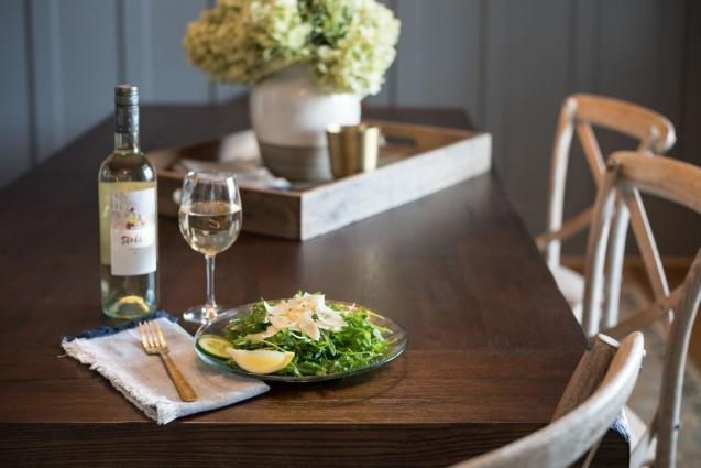 Stella Pinot Grigio Bottle and Arugula Salad