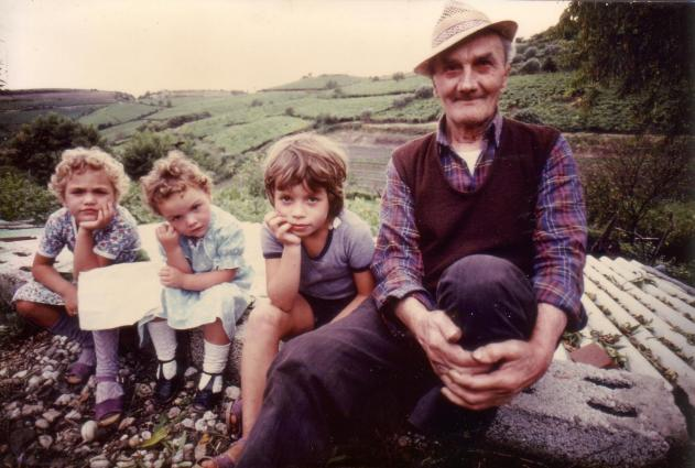 The sisters with Grandfather Giuseppe Tessari